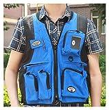 Lucky DuDu Paar im Freien Angelweste-Fotografie-Weste-Multi-Taschen-Overall-Weste-Weste (Farbe : Blau, Größe : XL)