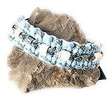 Viva Nature EM-Keramik Zeckenhalsband Zecken-Schutz-Halsband/verstellbar Paracord (35-45 cm, Grau Hellblau)