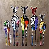UANOU Abstrakte Zebra Leinwandbilder Wand Bunte Tiere Kunstdrucke Afrikanische Tiere Kunst Bilder Für Wohnzimmer