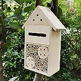 N/U Insektenhotel aus Holz,Wetterfest Insektenhaus Bienenkasten Insektenhotel Bausatz,Nisthilfe und Schutz für Nützlinge Bienen Marienkäfer Schmetterling Käfer (12 * 7 * 23cm)