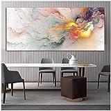 Nordice Poster Auspicious Sign Cloud Abstrakte Ölgemälde Landschaft Wandbild für Wohnzimmer Leinwand Moderne Kunst 27,6 x 55,1 Zoll (70 x 140 cm) x 1 Stück Rahmenlos