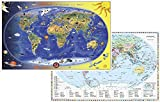 Kinderweltkarte / Staaten der Erde mit Flaggenrand: DUO-Schreibunterlage