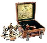 Hanzla Collection Maritimes, antikes Messing, Henry Barrow, nautisches Schiffs-Sextant, 20,3 cm, mit 2 zusätzlichen Teleskop
