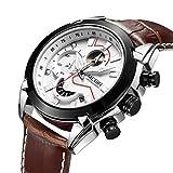 Megir Herren-Armbanduhr, analog, sportlich, Militär, Chronograph, mit Lederband, leuchtende Armbanduhr weiß