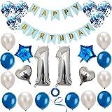 Haosell 11 Geburtstag Dekoration Set Silber Blau, Geburtstagsdeko, Geburtstagsfeier Dekoration, Happy Birthday Banner, 11 Jahre Alte Silber Zahlen Luftballons Deko für Mädchen, Jungen, Frauen, Männer