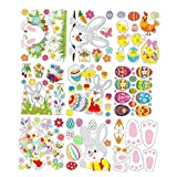Oster-Aufkleber, Wandaufkleber, Fensteraufkleber, Cartoon-Hasen-Eier, statische Aufkleber, Oster-Party, DIY-Dekorationen, bunt, hochwertiges Gartenzubehör