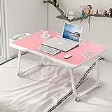 Charmdi Laptop-Tisch, tragbarer Laptop-Tisch, verstellbarer Laptop-Tablett-Tisch, Notebook Stehtisch mit Griff & Desktop Card Slot & Cup Slot für Bett/Sofa, Pink
