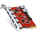 Viudecce 7 Port USB3.0 PCI Express PCIe Kontroller - 5X Externe Ports 2X Intern - 15 Poliger SATA Strom Anschluss - Schnittstellen Karte