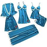 Amlousser Kurz Pyjama Set Nachthemd Negligee Set Babydoll Lingerie mit S