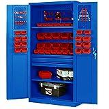 Werkzeugschrank TC02AM Werkstattschrank mit Schubladen Flügeltüren 3 Fachböden Pulverbeschichtung 185 cm x 92 cm x 50 cm (blau)
