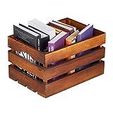 Relaxdays Holzkiste Vintage, Deko Weinkiste Holz, Aufbewahrung, HBT: 20 x 35 x 25 cm, rustikale Obstkiste, dunkelbraun