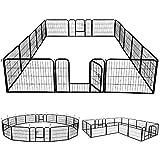 Yaheetech Welpenlaufstall Freigehege Welpenzaun Gehege Laufstall mit 2 Türen, aus 16 Panelen je Panel 80 x 60 cm Outdoor oder I