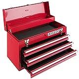 Arebos Werkzeugkoffer mit 3 Schubladen & 2 Ablagefächern | inkl. Tragegriff & Schnappverschlüssen | Einrastfunktion | Antirutschmatten | Rot