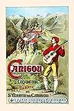 Werbepostkarte mit Musik für einen Likör Die Bilder zeigen einen Bart und ein Dorf hoch in den Bergen Posterdruck von unnown (24 x 36)