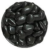 Maniny Dekorative Steine für Garten, 25 kg Polierter Kiesel Flusskiesel Kieselsteine Gartenkies Zierkies Dekoration - schwarz 1-3cm/25kg