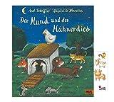 Buchspielbox Der Hund und der Hühnerdieb (Vierfarbiges Bilderbuch, gebunden) + 1x Tiersticker