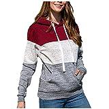 GOKOMO Pullover Damen Hoodie Langarmshirt Warm Sweatshirt Top Lässige Loose Tunika Bluse Shirt Oberteil Kleidung Kapuzenpullover mit Taschen