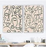 Liang Ni Inc Kunstdruck mit einzeiligem Gesicht, minimalistisch, Frauengesicht, eine Zeile, Zeichnung, Wandkunst, Leinwand, Gemälde, Raumdekoration, 40 x 50 cm, 2 Stück