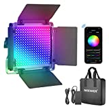Neewer 660 PRO RGB LED-Videoleuchte mit APP-Steuerung, 50W Videobeleuchtung 360° Vollfarbe, CRI 97 mit Barndoor/U-Halterung für Spiele Streaming YouTube Webex Rundfunk Webkonferenz Fotografie