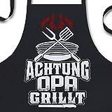 YORA Grillschürze für Männer Vatertagsgeschenk - Opa grillt - Kochschürze lustig [inkl. Urkunde] - lustige Geschenke zum Vatertag - Geschenkideen Opa & Papa