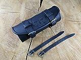 Lenkerrolle schwarz Skull von ORLETANOS kompatibel mit HD Harley Davidson Echtleder Lederrolle Rolle Werkzeugrolle Bugrolle Leder Chopper verstärkt Motorradtasche Motorrad Tasche