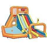 FHISD Aufblasbares Schloss Aufblasbare Hüpfburgen Aufblasbares Wasserspielzeug für Kinder Wasserrutsche Spielplatz mit Kletterbecken und Luftgebläse, 505 * 340 * 265cm