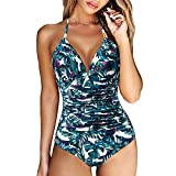 RXRXCOCO Women V Neck One Piece Swimsuits Tummy Control Ruched Swimwear Halter Bathing Suit Blue Leaf Small