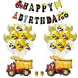 Bagger Geburtstag Deko, BAU Geburtstag Party Dekorationen, Baustelle Kindergeburtstag Deko Set, Baufahrzeug Feuer Auto Folienballons, Bagger Luftballons, Geburtstagdeko Jungen