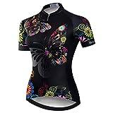 Weimostar Radtrikot Frauen Mountain Bike Trikot Shirts Kurzarm Rennrad Kleidung MTB Tops Sommer Sommer Kleidung Schmetterling schwarz Größe XL