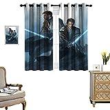 DRAGON VINES Warm Curtain Star Wars Obi Wan and Anakin Balance Room Temperature Set of 2 Panels W55 x L45