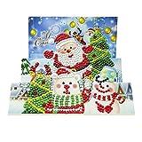 1 x Weihnachtsgrußkarte, Diamant-Grußkarte, speziell geformt, Teilbohrer, Diamantkarten, Urlaubskarten