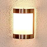 Lindby Wandleuchte außen 'Kinga' (spritzwassergeschützt) (Modern) in Alu aus Edelstahl (1 flammig, E27, A++) - Außenwandleuchten, Wandlampe, Außenlampe, Wandlampe für Outdoor & G