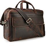TIDING Herren Laptoptasche 17 Zoll Leder Business-Tasche Aktentasche Schultertasche große Ledertasche zum Umhängen Trolley aufsteckbar Tote Umhängetasche Jahrgang Braun