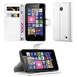 Cadorabo Hülle für Nokia Lumia 630/635 in ARKTIS WEIß - Handyhülle mit Magnetverschluss, Standfunktion und Kartenfach - Case Cover Schutzhülle Etui Tasche Book Klapp Style