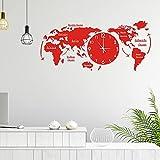 VESNIBA 3D Acryl Weltkarte mit Uhren Set Weltzeituhren Weltuhren Wanduhren Schilder Kontinente Länder Holz Wand Deko Wohnzimmer Dekoration Wall-Art (30 x 14 cm)