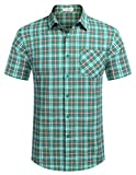 Tinkwell Herren Hemd Kurzarm Regular Fit Freizeit Business Hemden Kragen Plaid spleißen Hemden für Männer(Grün,M)