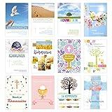 Edition Seidel Set 12 Kommunionskarten mit Umschlag - Glückwunschkarte zur Kommunion - Kommunionskarte - Set Kartenset (Klappkarten mit Briefumschlag)