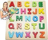 EasY FoxY ToY Alphabet-ABC-Holz-Puzzle Grosse Bunte Buchstaben Kinder-Holzspielzeug Ab 2 3 Jahre; Spielzeug Für Spielerisches Lernen des ABC Motorik; Geschenk für Mädchen Jungen; Pädagogisches Spiel