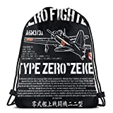 JOWV Turnbeutel Anime & A6m Zero Zeke Imperial Japanese Nay Air Service Fighter Aircraft Plane World War 2 Rucksack mit Kordelzug Unisex Fitness Rucksack Multifunktionaler Beam Mouth Rucksack