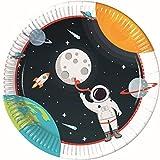 Procos 90295 - Partyteller Weltraum, 8 Stück, Durchmesser 23 cm, Pappteller, Teller, Einweggeschirr, Tischdekoration, Party, Astronaut, Planeten