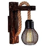 Vintage Holz Hanf Seil Wandlampen Fixture Retro Flur Nacht Boden Licht Leuchte Industrie amerikanischen Dekor Beleuchtung Holz