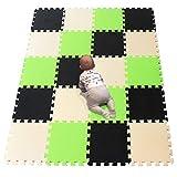 YIMINYUER Puzzlematte | Kälteschutz | abwaschbar | Kinderspielteppich Spielmatte Spielteppich Matte Schaumstoffmatte Kinderteppich Schwarz Beige GrasGrün R04R10R15G301020