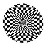 Wood.L 3D Illusion Vortex Bodenloser Teppich Anti-Rutsch-Matte, 3D Teppich Esszimmer Wohnzimmer Hauptschlafzimmer Modern Schwarz Und Weiß Bodenmatte