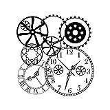 NEWSTAMPS DIE STEMPELMACHER Motivstempel Uhren & Zahnräder Stempel aus Holz zum Basteln von Karten - 80x85 mm - Stempel für Papier, Textil und Fondant - Made in Germany