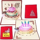 2 Stück 3D Aufpoppen Grußkarten, LED Licht Alles Gute zum Geburtstag Musik Karte mit Umschlag Geburtstagstorte Aufpoppen Karten für Kinder Männer Frauen