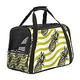 Haustier-Transporttasche mit Ananas-Streifen, weich, für Katzen, Hunde, Welpen, bequem, tragbar, faltbar, für Fluggesellschaften zugelassen