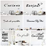 Wandaufkleber, französische Zitate, Wanddekoration, Vinyl, für Zuhause, Büro, Schule