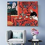 Drucken auf Leinwand Roter klassischer Stil Stillleben Wohnzimmer HD-Druck Leinwand Ölgemälde Home Decoration,50x75cm,Rahmenlose Malerei