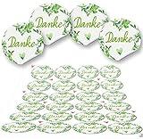 Logbuch-Verlag 96 Aufkleber rund grün hellgrün weiß DANKE Herz 4 cm Geschenkaufkleber Etiketten Sticker - Hochzeit Taufe Kommunion Geburtstag Gastgeschenk give-away Deko Fest Verpackung Mitgebsel