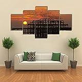 IOOIO Bilder 5-teilig Leinwandbilder Wanddeko Kunstdruck Herdenstare über dem Westen Bilder 5 Leinwanddrucke Modern Leinwand Wohnzimmer Wand Bilder Kreatives Geschenk